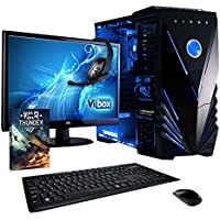 """Vibox Ultra Package 11XSW Gaming PC - with Warthunder Game Bundle, Windows 10, 21.5"""" HD Monitor, Gamer Headset, Keyboard & Mouse Set (3.1GHz AMD A8 Quad Core Processor, Radeon R7 Graphics Chip, 2TB Hard Drive, 16GB RAM, Vibox Tactician Blue LED Case)"""
