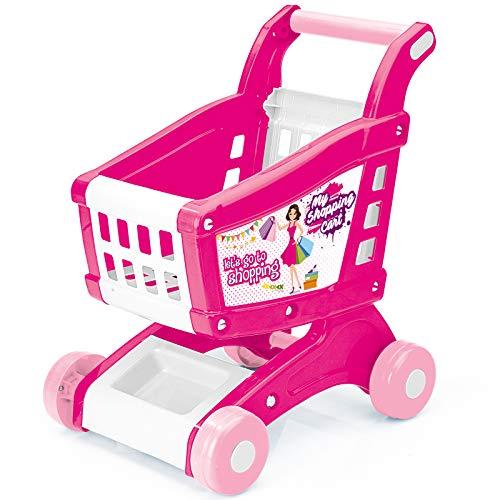 Einkaufswagen für Mädchen Kaufladen Zubehör ab 2 Jahre pink Rollenspielzeug Einkaufen 48 cm Kinder Supermarktwagen Kindereinkaufswagen Kunststoff Kaufmannsladen Einkaufskorb Spielzeug Lernspielzeug