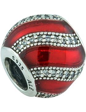 [A] Pandora Charm 791991EN07 Weihnachtsornament rot Sterling Silber