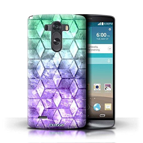Kobalt® Imprimé Etui / Coque pour LG G3/D850/D855 / Vert/Bleu conception / Série Cubes colorés Vert/Violet