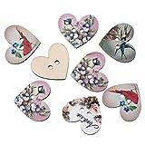 #4: Hexawata Mixed Birds Flower Pattern Printed Heart Shaped 2 Holes Wood Wooden Button Pack of 50pcs