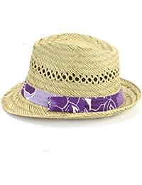 STRAW TRILBY HAT HAWAIIAN FLOWER PRINT BAND