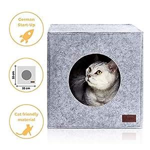 PiuPet® Premium Cat Bed incl. Cushion, Suitable for e.g. IKEA® Kallax & Expedit Shelves, Cats beds in grey, Cozy cat house, Cat basket