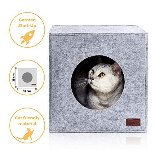 Piupet® cuccia per gatti incl. cuscino, adatto p. e. scaffali ikea® kallax & expedit, letto comodo in grigio
