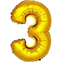 Globo Número 3 metalizado dorado o plateado 120 cm. Meseros con números.