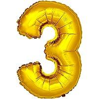 DekoRex® número globo decoración cumpleaños brillante para aire y helio en oro 120cm de alto No. 3