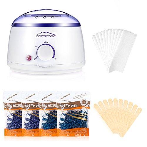 Calentador De Cera Eléctrico Profesional, Set de Depilación con Cera, con Máquina de Cera Caliente + 4 Paquetes de 100 g Frijoles de Cera + 10 Espátulas de Madera + 10 Gasas de limpieza - Blanco