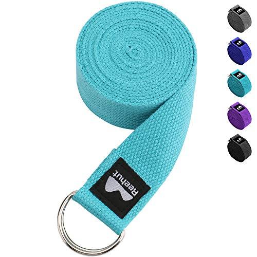 Reehut Yogagurt (1,8m, 2,4m, 3m) Baumwolle mit stabilem Verschluss aus 2 verstellbaren D-Ringen, Langer Yoga Gurt Band Zubehör Hilfsmittel für Dehnung Belt in verschiedenen Farben (2 Baumwoll-gurtband)