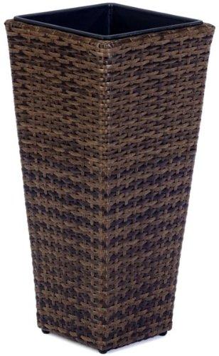 GARTENFREUDE Pflanzkübel Pflanzgefäße Blumenkübel Blumentopf für Blumen etc. Polyrattan 28 x 28 x 60 cm, für innen und außen, wasserdichter Kunststoffeinsatz, bicolour braun