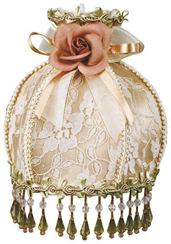 Royal Designs Beaded Tan Victorian Nightlight w/ Designer Brocade Fabric w/ Off-white/Light Gold Trims, w/ Rosette & Bow (NL-107) by Royal Designs, Inc -