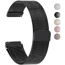 4 Colores para Correa de Reloj,Fullmosa®Milanese Piel Correa Huawei Samsung Correa/Banda/Band/Pulsera/Strap de Recambio/Reemplazo 18mm 20mm 22mm 23mm 24mm,Negro 22mm