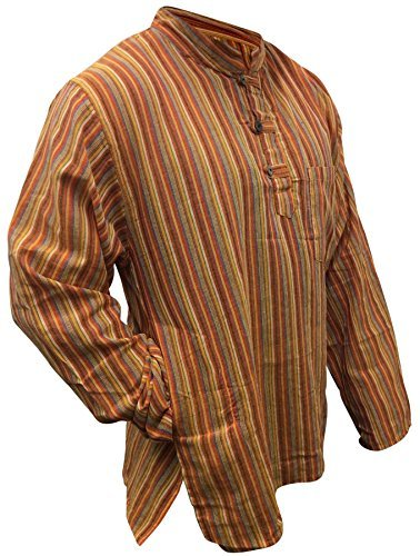 Multi farben mix dharke Streifen leicht bequem langärmlig traditionell Großvater Shirt,hippy boho,s m l xl xxl xxxl Orange Mix