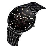 Uhr, Uhren Männer, Edelstahl-klassische Luxus-Geschäfts-beiläufige Uhren wasserdicht Multifunctions Quartz Milanese Mesh-Band-Armbanduhr (schwarz)