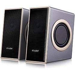 Home Speaker Haut-parleur PC Stéréo, Mixcder MSH169 Surround Subwoofer Enceinte Multimédia avec Son Amélioré, Volume Contrôle et Basses Profonde Battante, Jack Audio 3,5 mm pour PC TV MP3 MP4