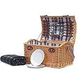 Tradizionale cesto di vimini da picnic 'Stretford' per 4 persone - Una bella idea regalo per il compleanno, matrimonio, pensionamento