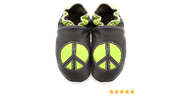 Meli Melo bio Chaussons Cuir Souple Peace and Love