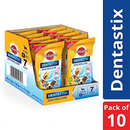 Pedigree DentaStix Hundeleckerli für mittelgroße Hunde, Kausnack mit Huhn- und Rindgeschmack gegen Zahnsteinbildung für gesunde Zähne, 10er Pack (10 x 7 Stück)