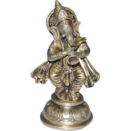 Sitting Ganesha Hindu God Brass Statue Playing Shehnai