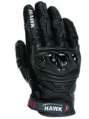 Hawk Premium Leder Motorrad Motorrad Handschuhe Cow Hide Leder kurz 1Jahr Garantie. Gr. L, schwarz