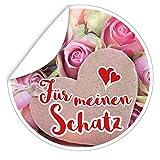 Für meinen Schatz ❤️ Aufkleber rund ❤️ 9,5 cm ❤️ inkl. Alles Gute - Postkarte ❤️ Geschenk Geburtstag Schatz ❤️ Zur Personalisierung von Geschenken