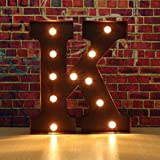 FLAMEER LED Buchstaben Dekoleuchte Batteriebetriebene Leuchtbuchstaben Dekolampe für Wohnzimmer Bar...