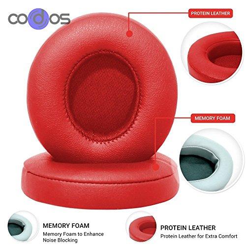 Cuscinetti auricolari per Beats di Dr. Dre Solo 2.0 con cavo, Solo 2 con cavo, ricambio dei cuscinetti di copertura, con cavo, rossi