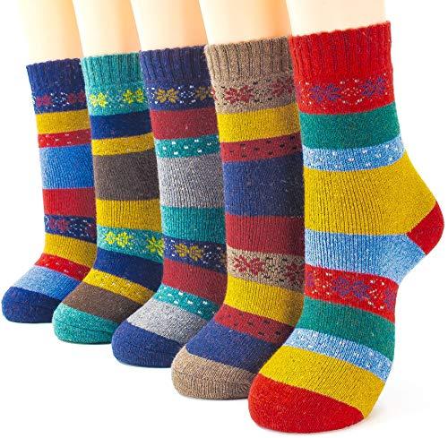 JiYe Damens Mehrfarbig Wolle Winter Socken damenschuhgröße 5-9 w04 multicolor -