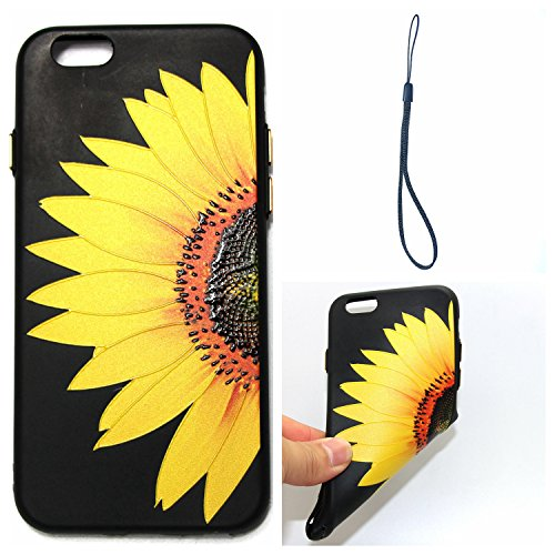 invei iPhone 6 Handyhülle,iPhone 6S Flip Case,Bunte Muster Design/Ledertasche Schutzhülle Leder Huelle Stand Magnetverschluss -Mandala Blumenmuster Gelbes halbes Sonnenblumen-Design