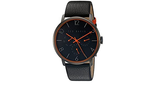 f26c6ea7aa9 Ted Baker Mens Black Leather Strap Black Dial TE10029566  Amazon.co.uk   Watches