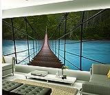 Wapel Home Decoration Eiserne Brücke Hängebrücke Wasser Landschaft Im 3D-Hintergrund Wand Zimmer Moderne Tapete Seidenstoff 200x140CM