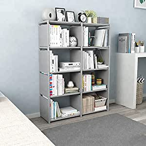 Sterling Book Shelf for Home Library, Book Stand, Book Rack for Study Room, Book Stand Shelf 8 Layer Grey Color 126 x 80 x 30 cm