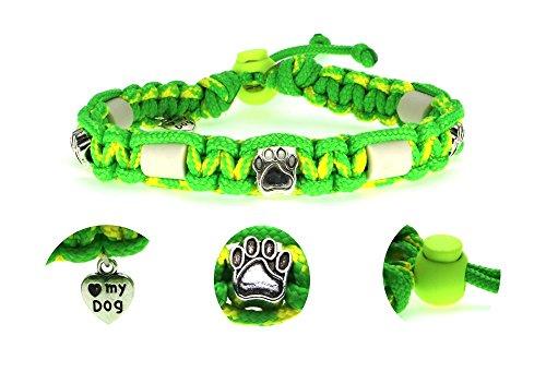 Zeckenschutzhalsband (26cm - 36cm) - EM Keramik Halsband Schutz gegen Zecken und Ungeziefer, 100 % Natur aus Paracord geknüpft mit stylischen Schmuckelementen, für Hunde und Katzen. Grün/Gelb Nr. 108