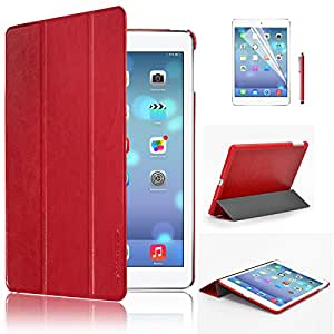 Swees® Ultra Slim Apple iPad Air (5th 2013 Version) Case Cover, Full Protection Smart Cover for iPad Air iPad 5 5th With Magnetic Auto Wake & Sleep Function + Screen Protector & Stylus Pen - Red
