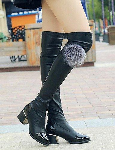 ShangYi Mode Frauen Schuhe Damen Stiefel Frühjahr / Herbst / Winter Fashion Stiefel Kunstleder Outdoor / Casual Ferse schwarz Andere Andere Schwarz