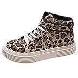 YEBIRAL Les Chaussures Femme La Mode Imprimé léopard Impression Fond épais Fond Plat Haute Aide Plus Velours Toile Chaussures de Sport Lacets Les Chaussures