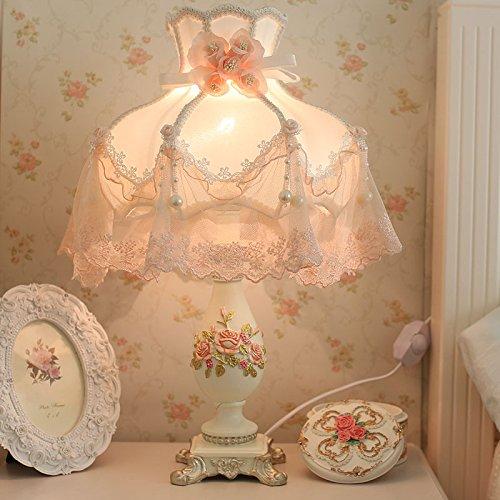 LGK&FABettseit- und Tischlampen verheiratet Schlafzimmer Nachttischlampe warmes Licht Garten Stil im Europäischen Stil tuch Spitze weiblichen Nachttischlampe 30 * 52 cm, Holz Schalter Chinesische Harfe