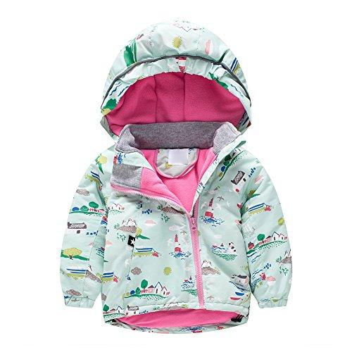 Baby-Mädchen Kinder Jacke mit Samtgefütterte Schräger Reißverschluss Winterjacke Übergangsjacke Steppjacke Grünes Dorf/3-4Y (Dorf Mädchen,)