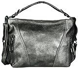 Mevina Damen Handtasche mit Nieten Leder Optik Schultertasche Henkeltasche Umhängetasche viele Farben Dark Silber A1329