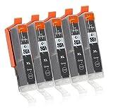 5 Druckerpatronen mit Chip und Füllstandsanzeige Kompatibel zu Canon CLI-551 (Grau) Passend für Canon Pixma IP-8700 IP-8750 MG-6300 MG-6350 MG-7100 MG-7150 MG-7500 MG-7550