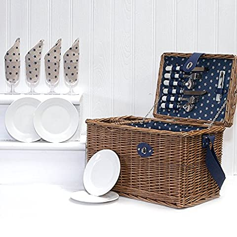 Deluxe Cosmopolitan Wicker 2 Bottle Holder Picnic Hamper Basket with Shoulder Strap & Accessories for 4 Persons - Gift ideas for Birthday, Anniversary and Congratulations Presents