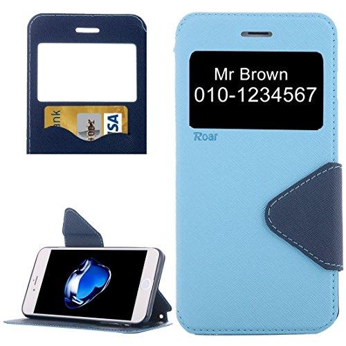 Hülle für iPhone 7 plus , Schutzhülle Für iPhone 7 Plus Kreuz Textur Horizontale Flip Leder Tasche mit Call Display ID & Halter & Card Slot ,hülle für iPhone 7 plus , case for iphone 7 plus ( Color :  Blue