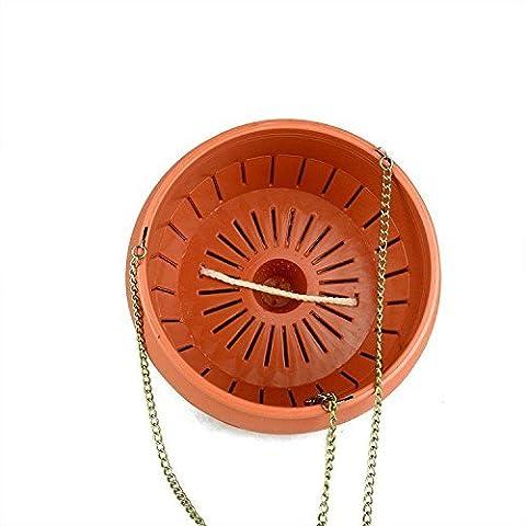 Jardin Pots de fleurs–3L Intérieur Extérieur Plastique Forme de bol d'arrosage automatique Pot de fleurs Pots avec chaînes à suspendre Crochet (Mandarine)