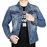 Finrosy Jeansjacke Herren Denim Mantel Freizeit Jacket Denim und Baumwolle (XL, Blau)