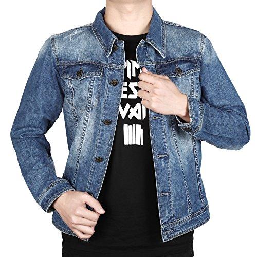 Finrosy Jeansjacke Herren Denim Mantel Freizeit Jacket Denim und Baumwolle (XXL, Blau)