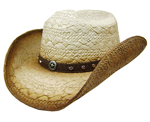 modestone-unisex-straw-cappello-cowboy-metal-sheriff-star-concho-studs-hatband-tan