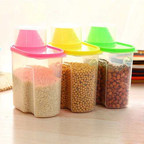 Dispensador de cereales de plástico, 1,9 L, caja de almacenamiento para cocina, grano de alimentos, contenedor de almacenamiento organizador, plástico, rosa, 21x16x8cm