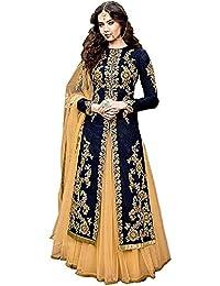 d350c15b839d Varudi Fashion Womens Silk Dress Material(Anushka Blue_Blue_Free Size)