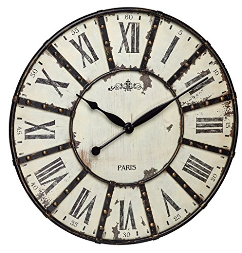 TFA-Dostmann 60.3039.02 Horloge Murale Métal, Schwarz/weiß, 60 x 60 x 4,5 cm