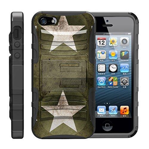 TurtleArmor - Kompatibel für Apple iPhone SE Hülle, iPhone 5 / 5S [Hyperschock] Robuste Hybrid-Hartschale mit Ständer Clip Militär-Roboter Android Design -, Military Stars