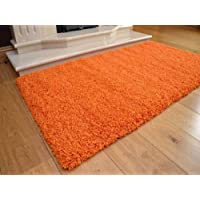 Soft Touch Shaggy Orange Thick Luxurious Soft 5cm Dense Pile Rug. Available in 7 Sizes (120cm x 170cm)